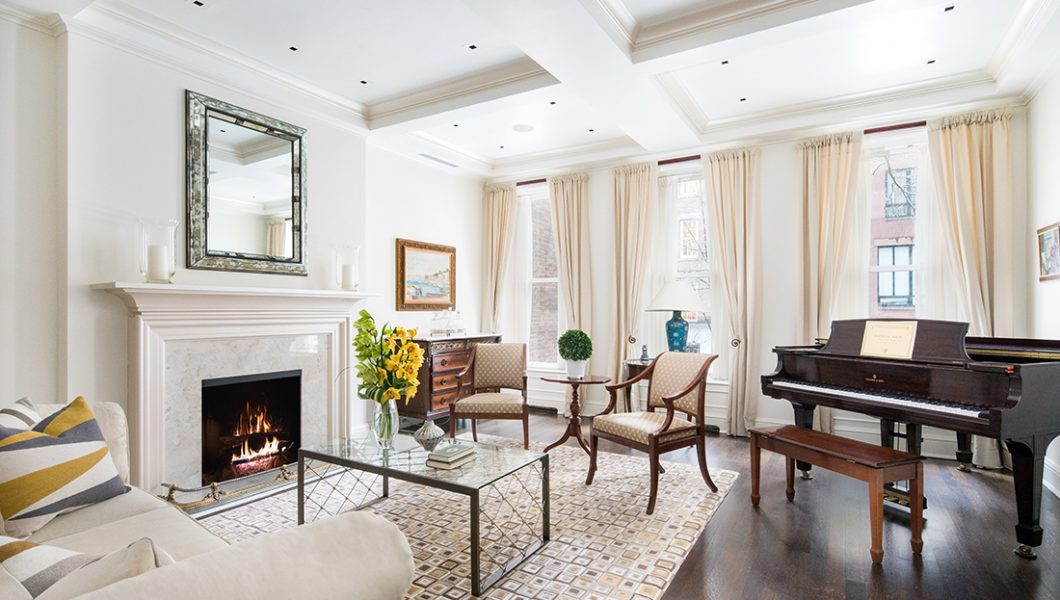 154 East 74th Street Brownstone, Living Room, as featured in Quest Magazine's July 2018 Article, Sizzling Summer Markets, Page 72. Sold in 3 months.