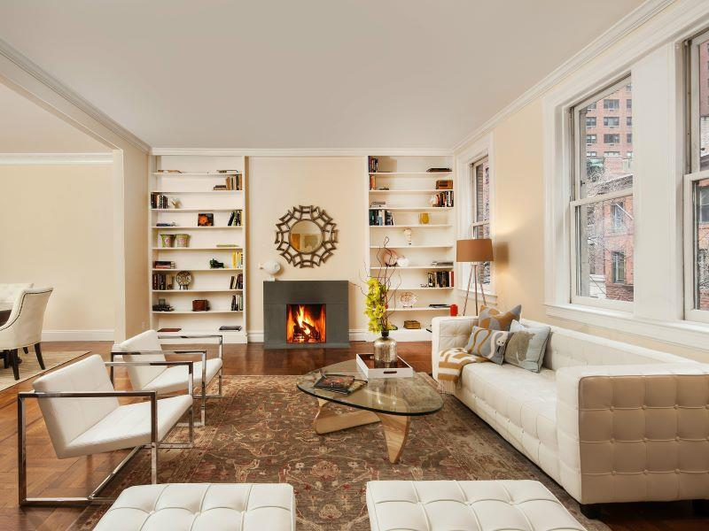 165 East 73rd Carriage House, Living Room.  This property was featured in the New York Times Real Estate Section, The Fix article by. Michelle Higgins (1/22/17).
